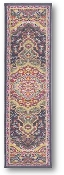 "Walkway on the Orient Express, woven tapestry carpet design with black edges, red and cream design, approximately 9"" x 1.75"""