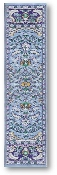 "The Tao of the Bird, woven tapestry carpet design with blue edges, navy, gold and light blue design, approximately 9"" x 1.75"""