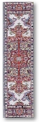 "The Imperial Palace Hall, woven tapestry carpet design with black and beige edges, red and cream design, approximately 9"" x 1.75"""