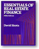 Essentials of Real Estate Finance: 5th Edition by David Sirota, 1989